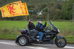Harley Davidson Motor Bike Trike Rider. Harley Davidson Motorbike trike riders in the Thunder in the Glen Ride out from Aviemore to Grantown on Spey in Scotland stock images