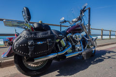 Harley Davidson Motorbike Beach. Harley Davidson Motorbike cruiser parked at the ocean beach roadside Royalty Free Stock Image