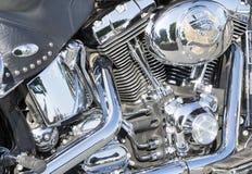 Harley Davidson Motorcycle Engine närbild Royaltyfri Bild