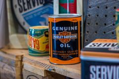 Harley Davidson motorcycle oil can. stock images