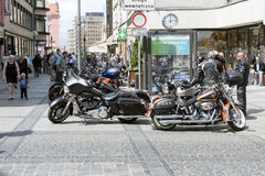 Harley Davidson motorcycle parked in the city Stock Images