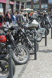 Harley Davidson motorcycle parked in the city Royalty Free Stock Photography