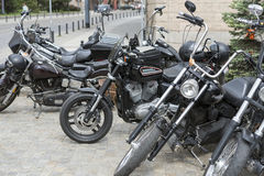 Harley Davidson motorcycle parked in the city Royalty Free Stock Image