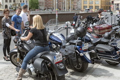 Harley Davidson motorcycle parked in the city Stock Image