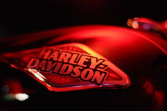 Harley Davidson. Motorcycles. High performance bikes, softail model. Engine exposed, and exhaust. Shiny finish, and chrome details royalty free stock image