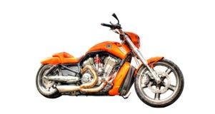 Harley Davidson-motorfiets op een witte achtergrond wordt geïsoleerd die stock fotografie