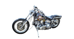 Harley Davidson nero isolato su un fondo bianco Fotografia Stock