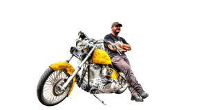 Harley Davidson with owner isolated on white background. Custom painted yellow Harley Davidson motorbike with biker isolated on white background royalty free stock photography
