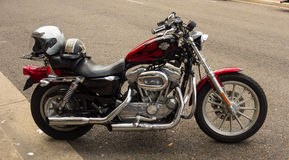 A harley davidson parked on main street, paducah stock photography