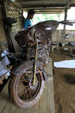 Harley davidson replica. Craftsmen are making a replica harley davidson motorcycles  from copper in Boyolali, Central Java, Indonesia Royalty Free Stock Photo