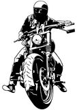 Harley Davidson and Rider. Black and White Illustration, Vector Stock Image