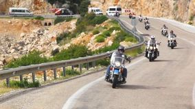 Harley Davidson riders motorcycle trip. On the road. Harley Davidson motorcycle trip. On the road stock video