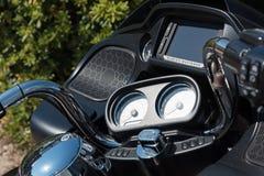 Harley Davidson Road Glide special handlebar. Alghero, Italy - April 21, 2017: Harley Davidson Road Glide special handlebar Royalty Free Stock Photo