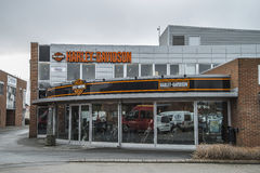 Harley-Davidson, shop exterior. Harley-Davidson shop exterior (entrance). Photo is shot outside a authorized Harley-Davidson shop in Sarpsborg, Norway one day in Royalty Free Stock Image