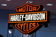 Harley-Davidson sign and logo. BUCHAREST ROMANIA April 19 2015 Harley-Davidson sign and logo. Harley-Davidson, Inc. is an American motorcycle manufacturer stock photo