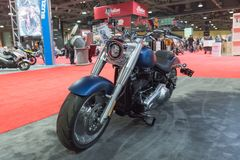 Harley-Davidson Softail Breakout 114 on display. Long Beach, USA - November 17, 2017: Harley-Davidson Softail Breakout 114 on display during Progressive royalty free stock photography