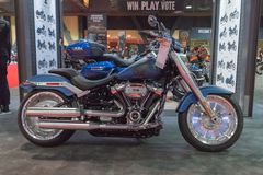 Harley-Davidson Softail Breakout 114 on display. Long Beach, USA - November 17, 2017: Harley-Davidson Softail Breakout 114 on display during Progressive stock photos