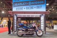 Harley-Davidson Softail Breakout 114 on display. Long Beach, USA - November 17, 2017: Harley-Davidson Softail Breakout 114 on display during Progressive royalty free stock photo