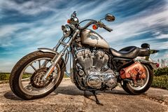 Harley-Davidson - Sportster 883 Low. RUSSIA-JULY 7, 2013: Harley-Davidson Sportster 883 Low. Harley-Davidson sustains a large brand community which keeps active royalty free stock image