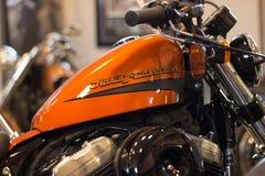 Harley Davidson Sportster Model with orange tank. royalty free stock image