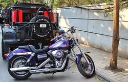Harley Davidson Super Glide motorcycle in India. Super Glide model by Harley Davidson motorcycles company displayed at SYMBAV festival in Pune, India Stock Photography