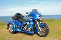 Harley davidson superbike. Photo of a metallic blue harley davidson superbike with full cvo spec showing at whitstable seafront 2016. photo ideal for superbikes stock photo