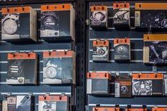 Harley Davidson tillbehörskärm i visningslokal royaltyfria foton