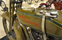 Harley-Davidson VINTAGE motorcycle AND LOGO IN MUSEUM. PESARO -ITALY - NOV. 2016: Harley-Davidson VINTAGE motorcycle AND LOGO IN MUSEUM Stock Photo