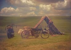 Harley And The Davidsons ,overfiltered artistic picture from romania documentary filmed by Discovery Channel Stock Photo