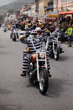 Harley Inmates. Participant at the Harley parade at Magic Bike Rudesheim 2013, an international event that brings together Rhine culture and thousands of bikers royalty free stock image
