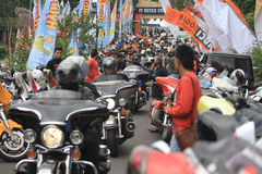 Harley lovers gather. Thousands of Harley lovers gathered together to hold the event in Yogyakarta, Indonesia. Gather together to establish communication and Stock Image