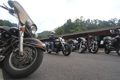 Harley lovers gather stock photo