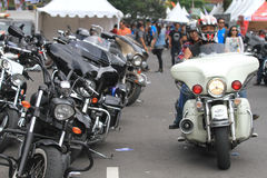 Harley lovers gather. Thousands of Harley lovers gathered together to hold the event in Yogyakarta, Indonesia. Gather together to establish communication and Stock Photography