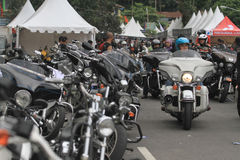 Harley lovers gather. Thousands of Harley lovers gathered together to hold the event in Yogyakarta, Indonesia. Gather together to establish communication and Stock Photo