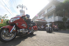 Harley lovers gather. Thousands of Harley lovers gathered together to hold the event in Yogyakarta, Indonesia. Gather together to establish communication and Royalty Free Stock Photos