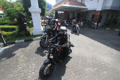 Harley lovers gather. Thousands of Harley lovers gathered together to hold the event in Yogyakarta, Indonesia. Gather together to establish communication and Royalty Free Stock Images