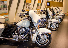 Harley motorcycles on display. Royalty Free Stock Photography