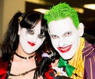 Harley Quinn & jokercosplayersna på den London filmen & komiker lurar 2017 royaltyfri fotografi