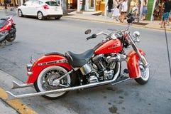 Harley rojo Fotos de archivo