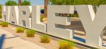 Harley Sign delante de Las Vegas Harley Dealership fotos de archivo libres de regalías