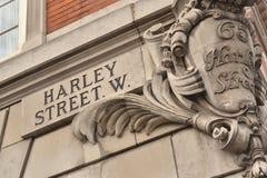 Harley Street-teken Londen Stock Foto