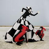 Harleyquins and chess queen. Two harleyquins and chess queen Royalty Free Stock Photos