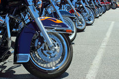 Harleys in a Row royalty free stock image
