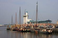 Harlingen harbour. Traditional Dutch boats in Harlingen harbour Stock Image