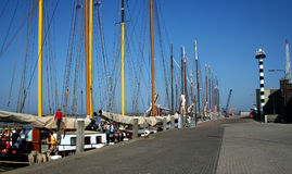 Harlingen. Netherlands, Harlingen,-june 2016: Ships moored in the port Royalty Free Stock Photo