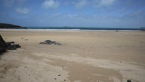 Harlyn Bay beach North Cornwall England UK near Padstow and Newquay stock footage