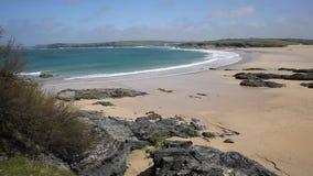 Harlyn Bay beach sea and waves North Cornwall England UK near Padstow stock video footage