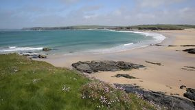 Harlyn Bay North Cornwall England UK near Padstow stock footage