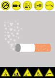 Harm concept of smoking cigarette vector. With graphic of risk from smoking Stock Photos