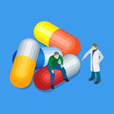 The harm medical products. Man sitting on the pills. The doctor in a white coat. Flat 3d illustration in isometric style. Medications vector illustration Royalty Free Stock Photography